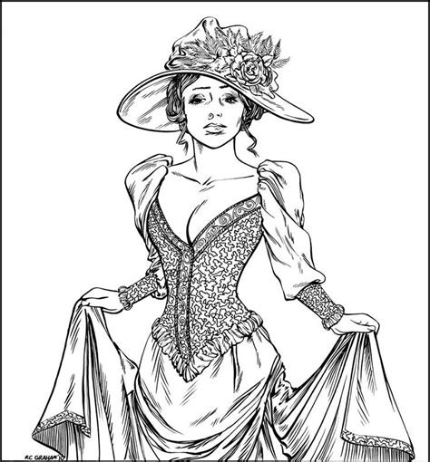 coloring pages for adults victorian victorian woman realistic coloring pages for adults
