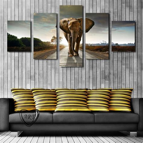 hang canvas without frame 5 pcs no frame elephant painting canvas wall picture home decoration living room canvas