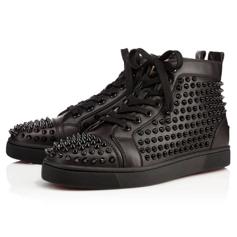 louis calf spikes black calfskin shoes christian louboutin