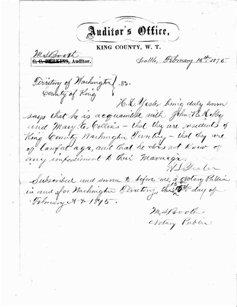 Marriage Certificate Notarized Letter Marriage License Applications 1866 Present King County