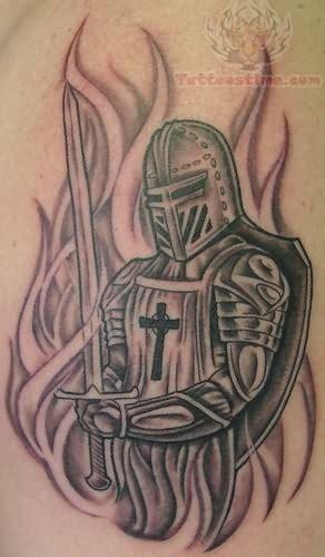 christian warrior tattoo flaming king warrior