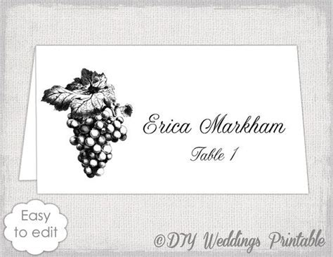 Wine Place Card Template by Place Card Template Quot Grapes Quot Name Card Templates Wine