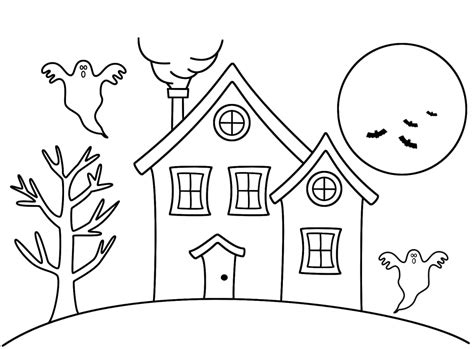 how to color a house haunted house coloring drawing pages grig3 org