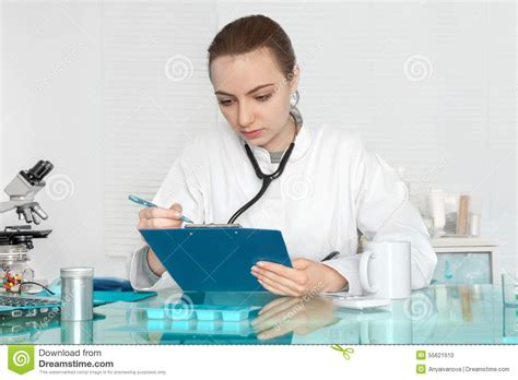Physicians Background Check Physician Checks Patients Records Stock Photo Image 55621610