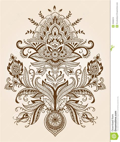 henna lace paisley flower vector stock vector