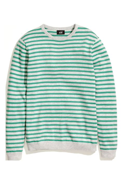 Hm Sweater Invert Fit Xl striped sweater green striped sale h m us