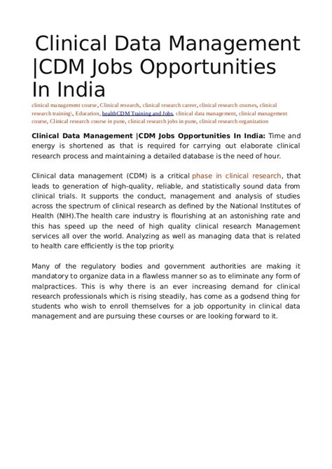 Mba In Clinical Research Management In India by Clinical Data Management Cdm Opportunities In India