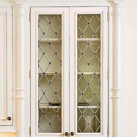 glass front cabinet doors kitchen cabinets with shaped leaded seeded glass