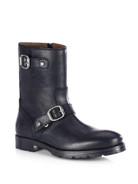 black leather biker boots jimmy choo stanford leather biker boots in black for men