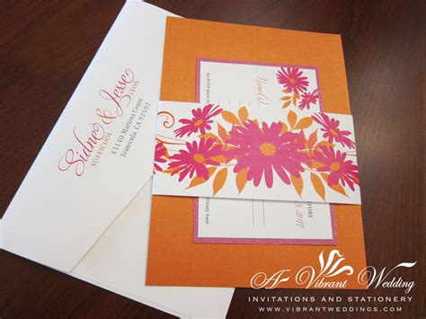 Einladungskarten Hochzeit Orange by Pink And Orange Wedding Invitation With Flower