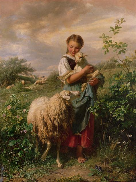 Sheep Home Decor by The Shepherdess Painting By Johann Baptist Hofner