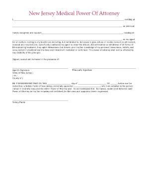 Bill Of Sale Form New Jersey Medical Power Of Attorney Form Templates Fillable Printable Power Of Attorney Template Nj