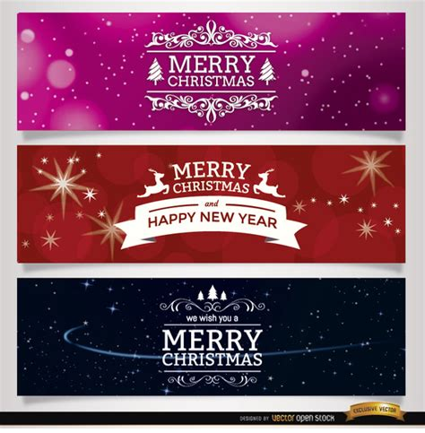 Wide Merry Christmas Banners Vector Free Download Merry Banner Template