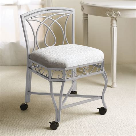 Bathroom Vanity Stools With Wheels Bedroom Inspiring Vanity Chair With Rustic White Iron Material Designed With Cozy Seat Pad And