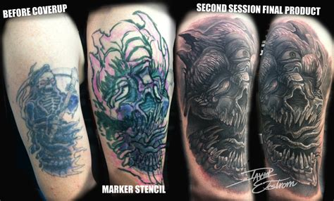 Cover Up Cover 11 tattoos by david ekstrom reaper skull coverup