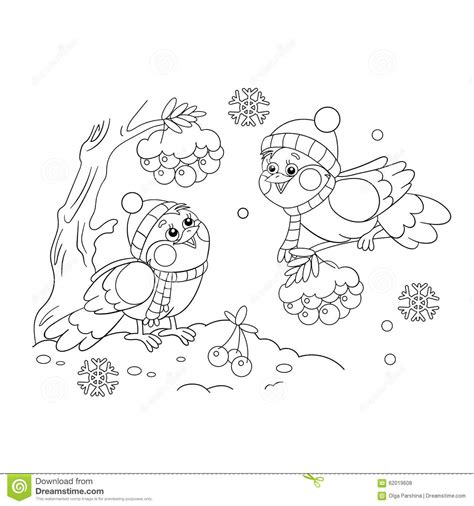 coloring pages of winter birds coloring page outline of funny birds in winter stock