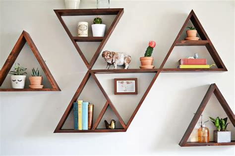 Food In The Bedroom Ideas wooden triangle shelves for your modern and contemporary