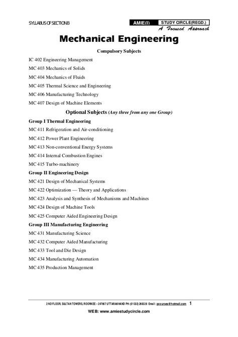 syllabus for amie section a amie section b mechanical engineering syllabus