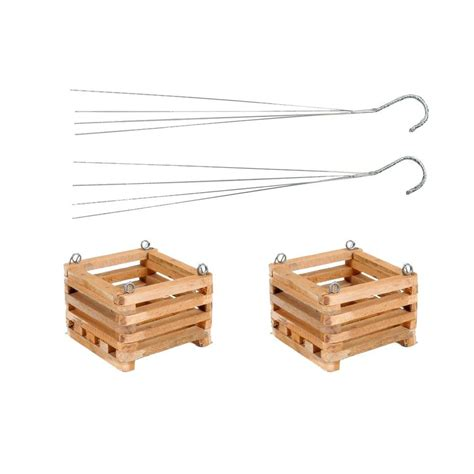 better woodworking better gro 6 in wooden square hanging baskets 2 pack