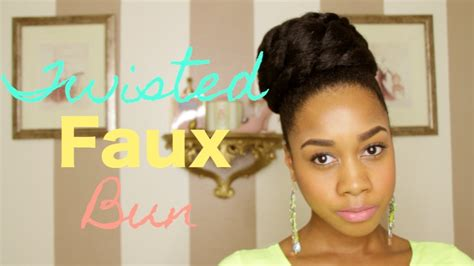 natural hairstyles buns tutorial twisted faux bun hair tutorial on natural hair youtube