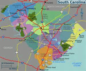 large regions map of south carolina state south carolina