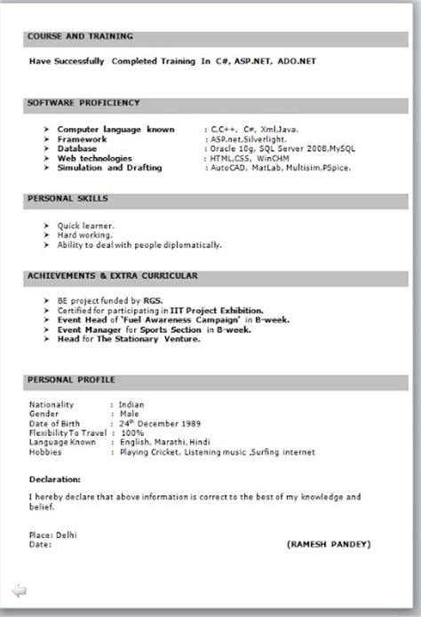 B Resume Format For Experienced by Sle Resume Format For B E Freshers