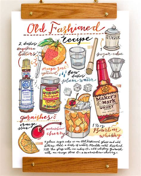 old fashioned cocktail drawing old fashioned cocktail print illustration bar decor food