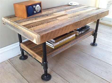 wood and pipe table industrial wood steel coffee table or media stand