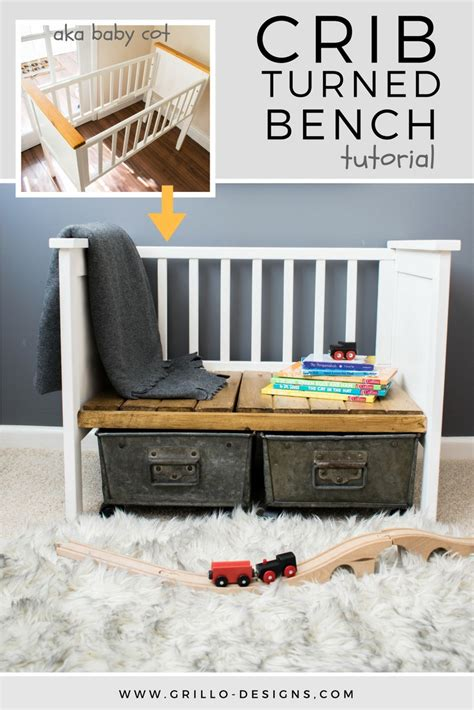 repurposed crib turned bench grillo designs