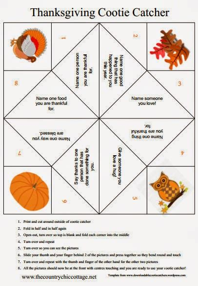 6 Folding Table Thanksgiving Cootie Catcher The Country Chic Cottage