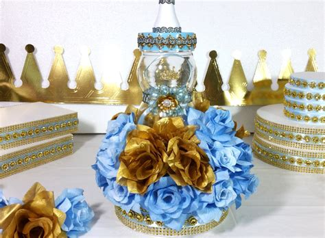 Little Prince Baby Shower Centerpiece For Royal Baby Shower Prince Themed Baby Shower Centerpieces