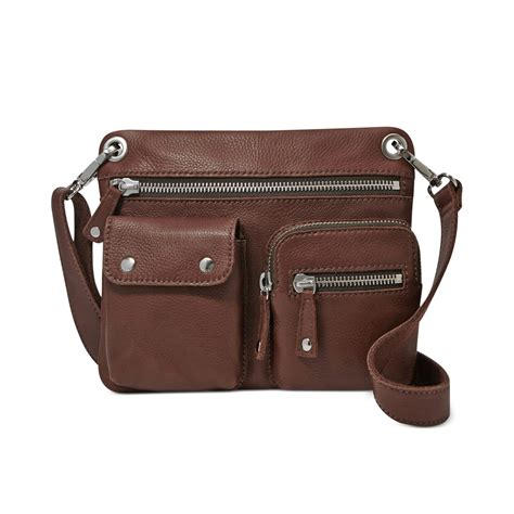 brown leather crossbody fossil sutton leather crossbody in brown espresso lyst