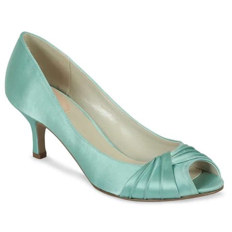 pink paradox mint green satin shoes wedding shoes