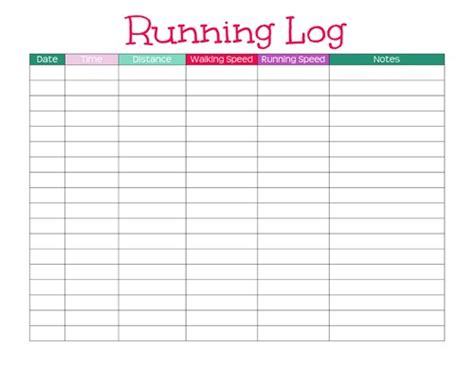 printable cing journal free blank half marathon training template calendar