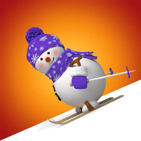 cute funny skiing snowman royalty  stock images image