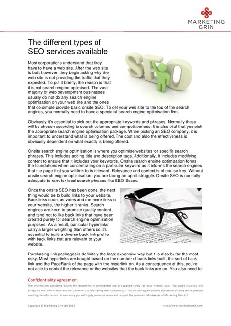 Types Of Seo Services - the different types of seo services available