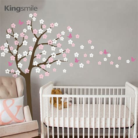 Modern Flower Tree Wall Sticker White Cherry Blossom Cherry Blossom Wall Decal For Nursery