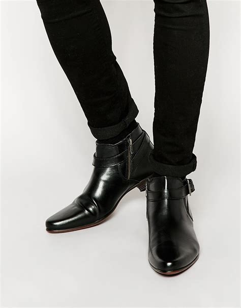 asos chelsea boots in black leather with buckle in