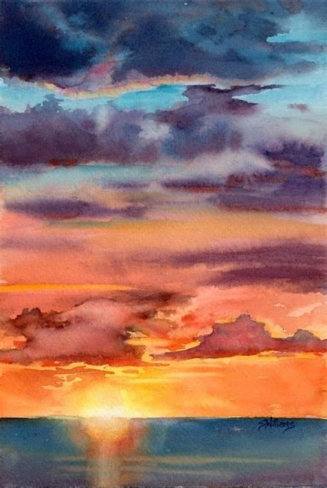 water color sunset 100 easy watercolor painting ideas for beginners