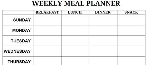 printable blank weekly meal planner printable monthly day planner calendar template 2016