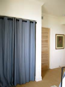 grommet curtains instead of closet doors creative