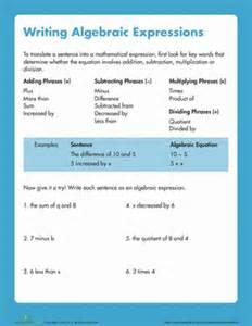 writing algebraic expressions worksheet education com