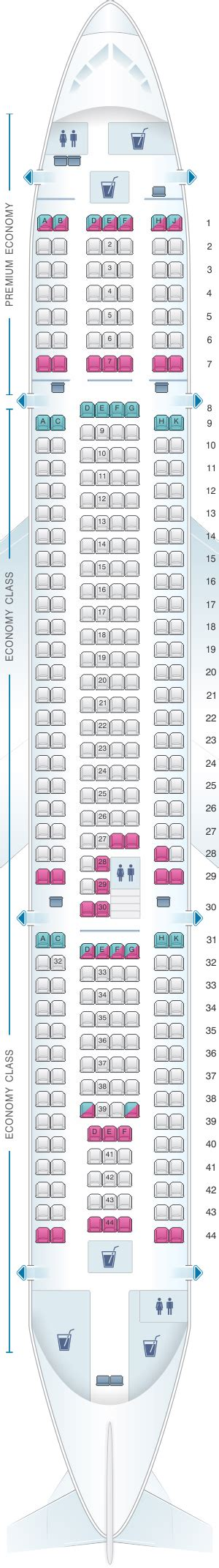 United Airlines Baggage Information by Seat Map Thomas Cook Airlines Airbus A330 200 Seatmaestro