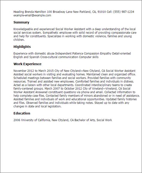 Social Work Resume by Social Worker Assistant Resume Template Best Design