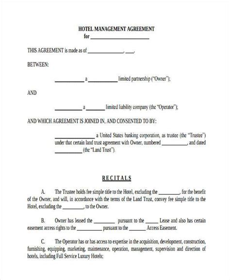hotel contract template room lease agreement sles 9 free documents in word pdf