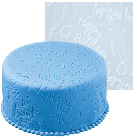 Impression Mats For Cake Decorating by Wilton Happy Birthday Fondant Icing Imprint Mold Mat