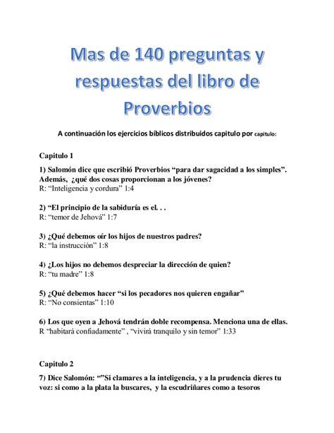 preguntas faciles de una entrevista mas de 140 preguntas y respuestas del libro de proverbios