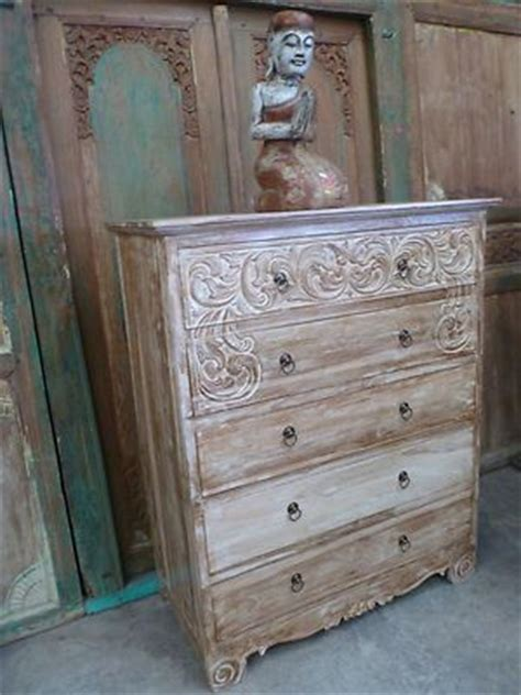 Balinese Furniture Hand Carved Teak Tall Boy Chest Of Bali Bedroom Furniture