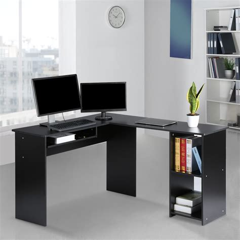 l shaped desk with bookshelf large l shaped computer desk with mute sliding keyboard