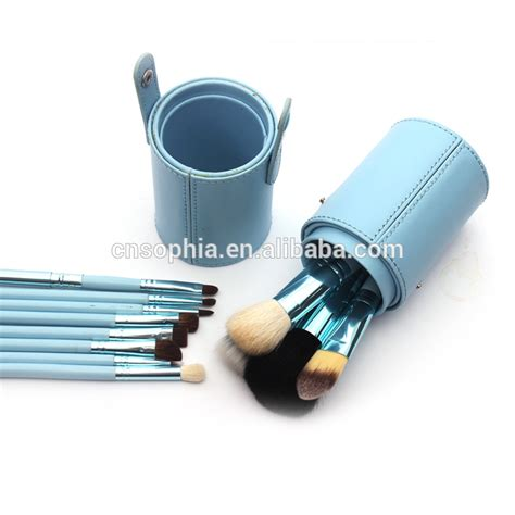 Lingzi Cosmetic Toolsperalatan Make Up 2017 selling 12pcs make up brush set with leather